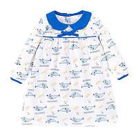 Трикотажное платье на девочку в голубой рисунок Little maven