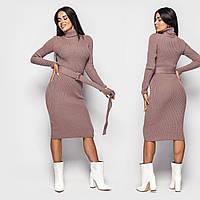 Вязаное платье гольф ниже колена с поясом на талии (р. 42-46) 4pmpa1831, фото 1