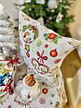 Наволочка декоративная гобеленовая двусторонняя новогодняя 45 х 45 см, фото 3