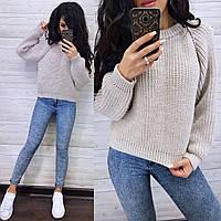 Жіночий теплий светр великої в'язки з рукавом регланом (р. 42-46) 8dmde1040, фото 1