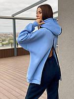Теплое женское худи с молнией спине и капюшоном (р.42-48) 71dmde1041, фото 1