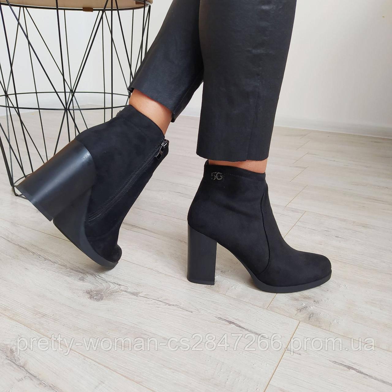 Черевики жіночі демісезонні чорні на каблуку екозамша 39