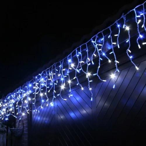 Наружная LED гирлянда Бахрома 5 метров мерцание Синий, 120 лед белый провод каучук пвх