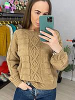 Повседневный свитер с ажурной вязкой и широкими рукавами (р. 42-46) 33dmde1044, фото 1