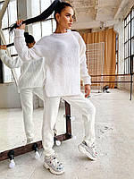 Женский вязаный костюм из полушерсти с удлиненным сввободным свитером (р. 42-46) 4mko1509, фото 1