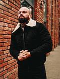 Замшева зимова куртка, чорна стьобаний зимова куртка, фото 2