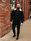 Замшева зимова куртка, чорна стьобаний зимова куртка, фото 5