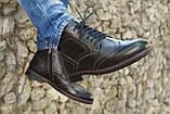 Мужские зимние туфли на меху, коричневого цвета, натуральная кожа, с мехом внутри, фото 4