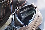 Мужские зимние туфли на меху, коричневого цвета, натуральная кожа, с мехом внутри, фото 5