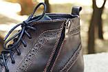 Мужские зимние туфли на меху, коричневого цвета, натуральная кожа, с мехом внутри, фото 6