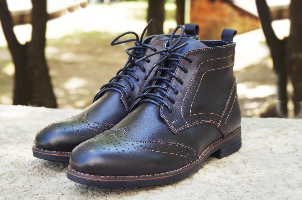 Мужские зимние туфли на меху, коричневого цвета, натуральная кожа, с мехом внутри