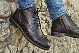 Мужские зимние туфли на меху, коричневого цвета, натуральная кожа, с мехом внутри, фото 2