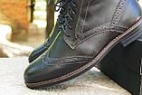 Мужские зимние туфли на меху, коричневого цвета, натуральная кожа, с мехом внутри, фото 8