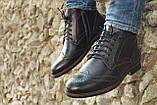 Мужские зимние туфли на меху, коричневого цвета, натуральная кожа, с мехом внутри, фото 3