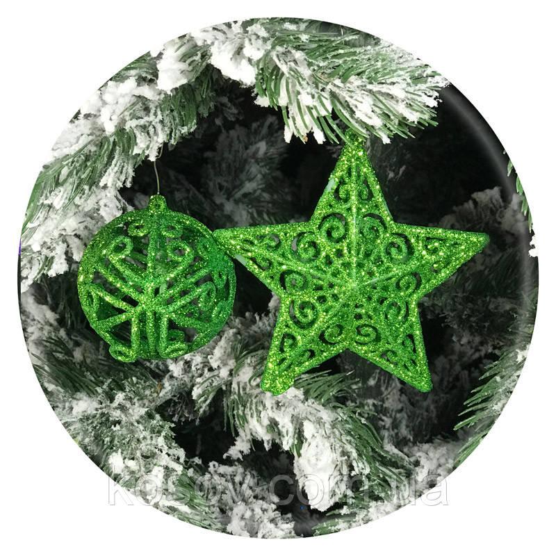 Набор елочных игрушек «Премиум» 12шт (зеленый)