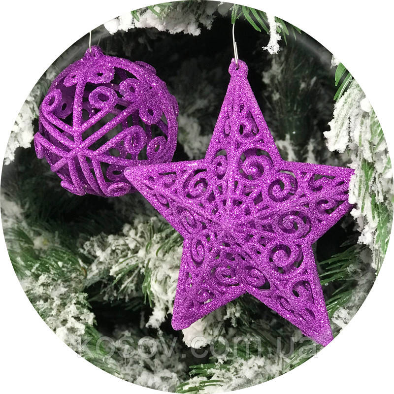 Набор елочных игрушек «Премиум» 12шт (фиолетовый)