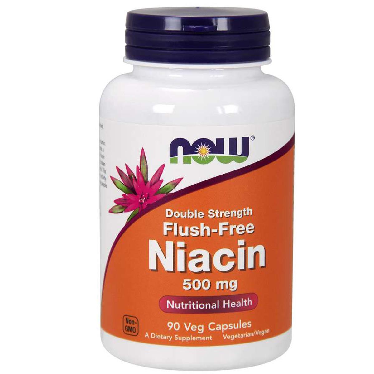 Ниацин В3 Now Foods No-Flush Niacin 500 мг 90 вегетарианских капсул (NF0498)
