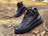 Мужские демисезонные ботинки, черного цвета, натуральная кожа,  Хайтопы мужские, фото 4