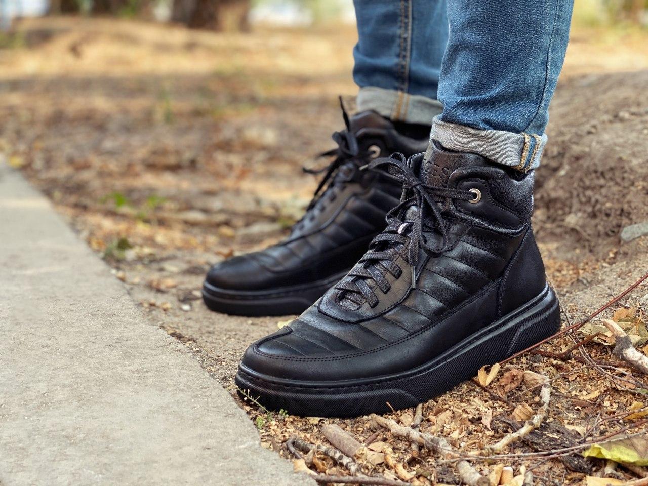 Мужские демисезонные ботинки, черного цвета, натуральная кожа,  Хайтопы мужские