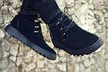 Мужские зимние ботинки на меху, черного цвета, натуральная замша, с мехом внутри, Хайтопы мужские, фото 2