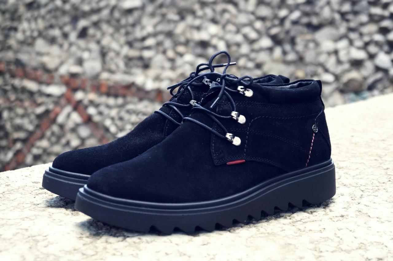 Мужские зимние ботинки на меху, черного цвета, натуральная замша, с мехом внутри, Хайтопы мужские