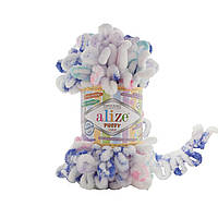 Пряжа с петлями петельками Alize Puffy Color 6245 (Ализе Пуффи Колор Алізе Пуффі) для вязания без спиц руками