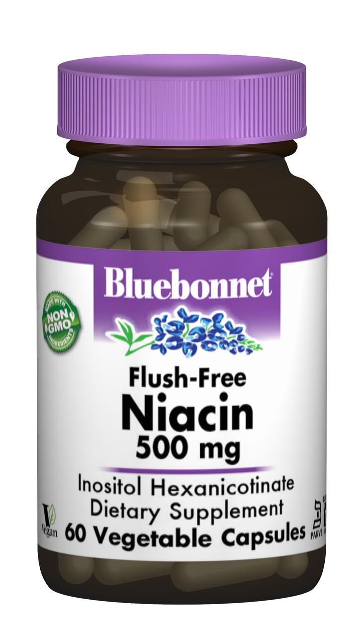 Ниацин без инфузата (В3) 500мг Bluebonnet Nutrition 60 гелевых капсул