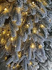 Елітна засніжена 2.1 м світиться лита ялинка штучна ялина з гірляндою, фото 3