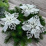 Цветок пуансетия комбинированная, белая. Диаметр 10 см, фото 2