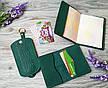 Подарочный набор из натуральной кожи зеленая вышиванка, фото 2