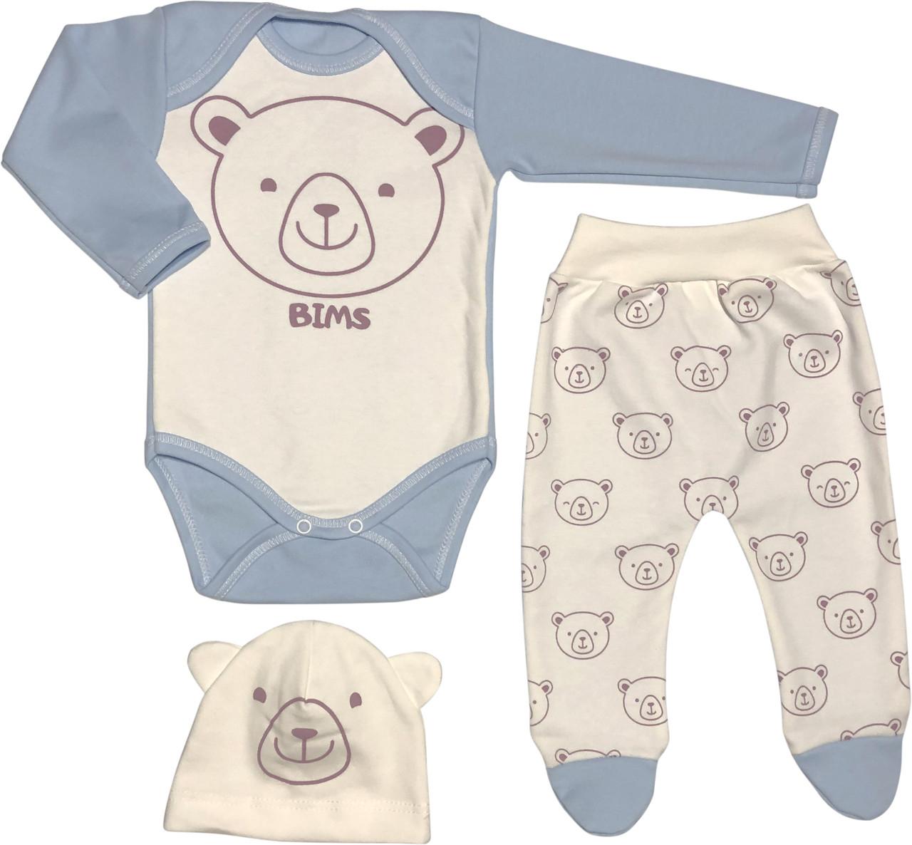 Тёплый костюм с начёсом на мальчика рост 56 0-2 мес для новорожденных комплект трикотажный интерлок голубой