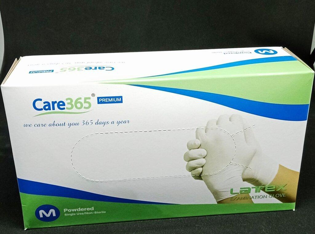 Рукавички латексні опудренниє Care365 100 шт/уп. М Білий (365 МР)