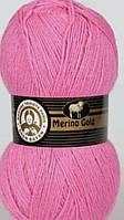 Турецкая пряжа для вязания Madame Tricote MERİNO GOLD 400 (мерино голд )меринос 60% шерсть 042 розовый
