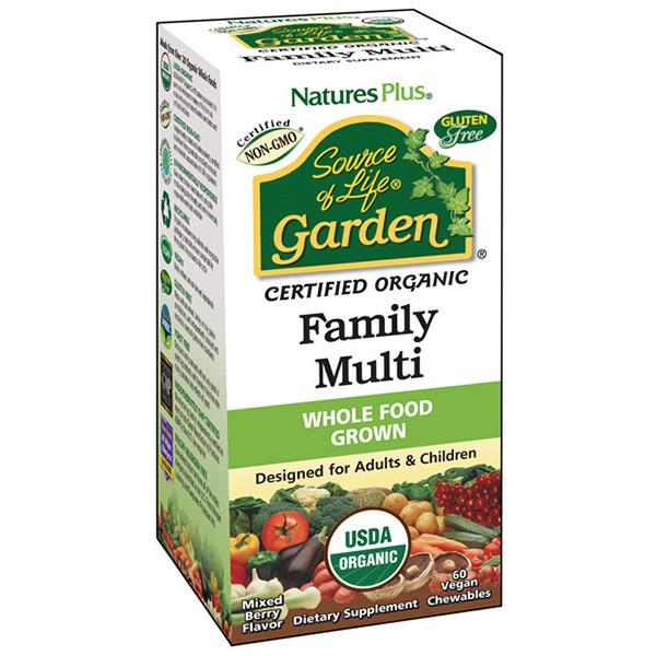 Органические мультивитамины для всей семьи Natures Plus Source of Life Garden Вкус Ягод 60 таблеток