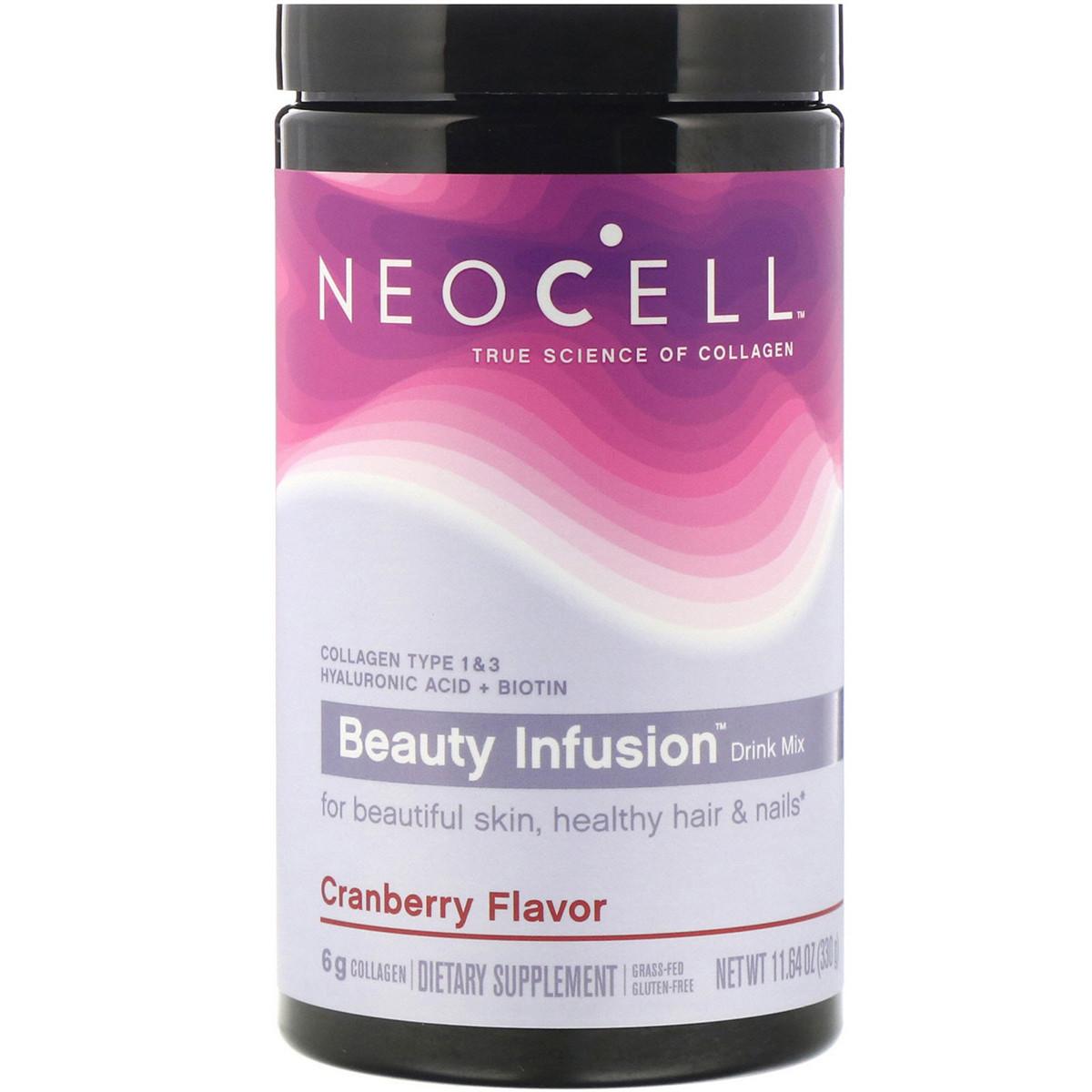 Комплекс для красоты волос кожи и ногтей Neocell Коллаген 1 и 3 типа Гиалуроновая кислота и Биотин вкус клюквы