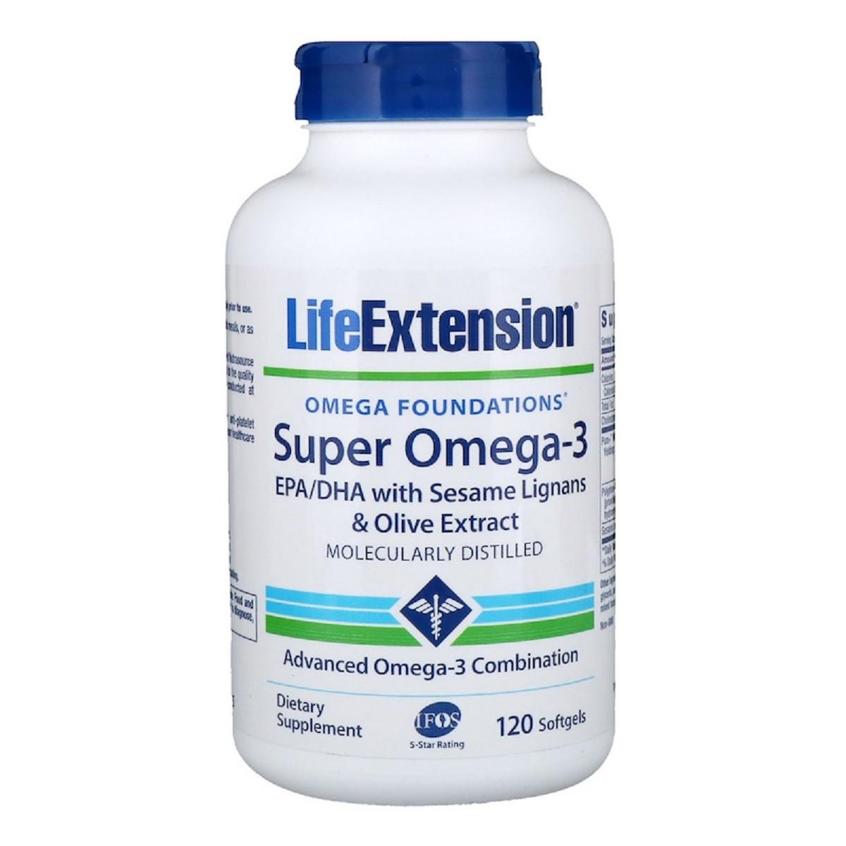 Супер Омега-3 Omega Foundations Super Omega-3 Life Extension 120 Желатинових Капсул