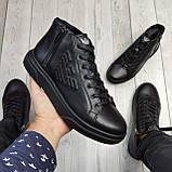 Мужские зимние ботинки на меху, черного цвета, натуральная замша, с мехом внутри, Армани Armani, фото 3