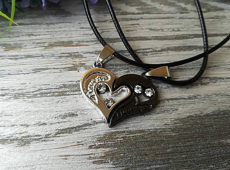 Кулон Две половинки сердца для влюбленных серебристо-черный, фото 2