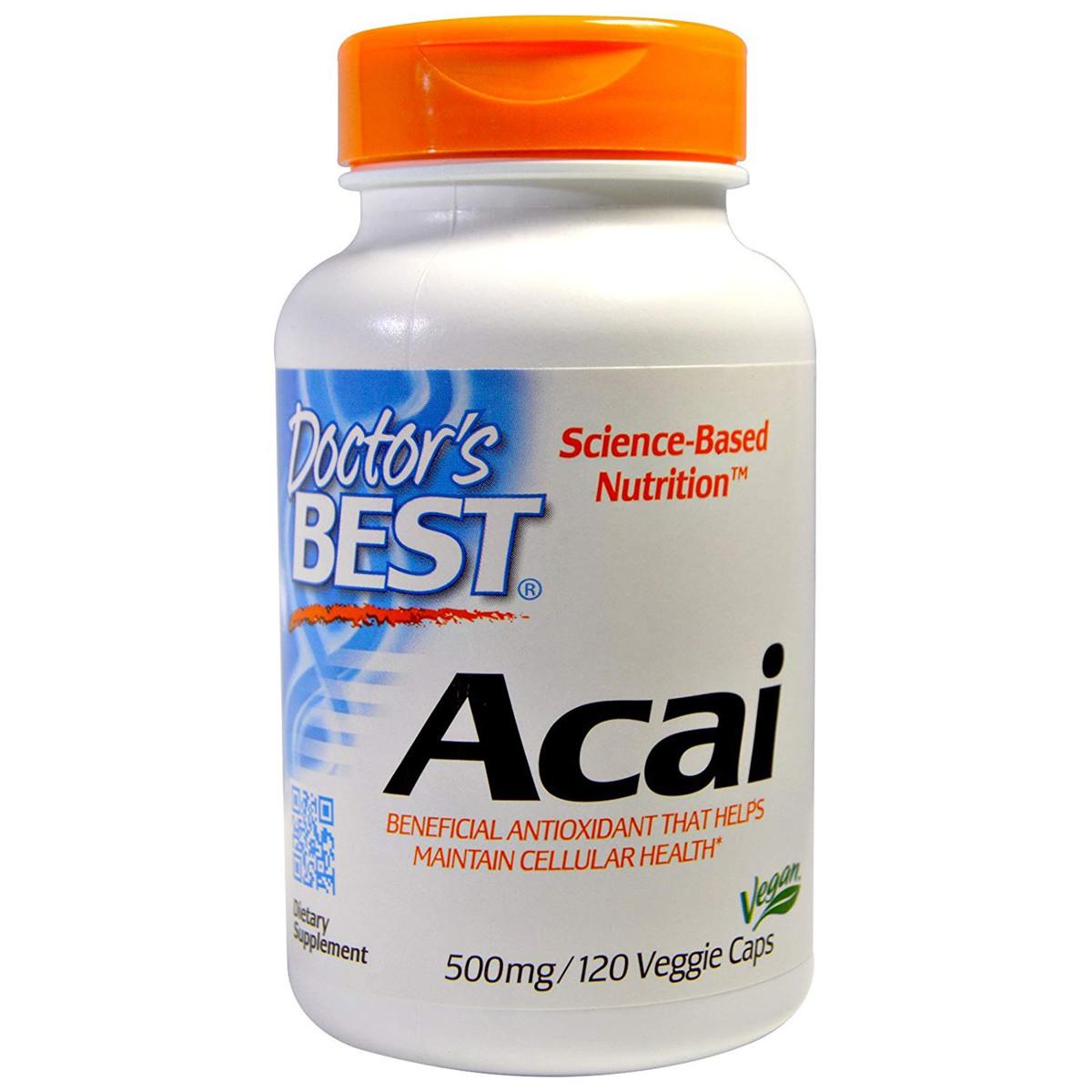 Асаї Doctor's s Best Acai 500 мг 120 гельових капсул (DRB00156)