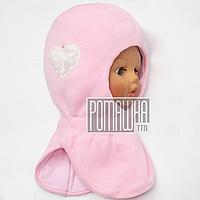Зимняя 50-52 2-5 лет детская термо шапка шлем балаклава капор для девочки зима с утеплителем 4482 Розовый 50