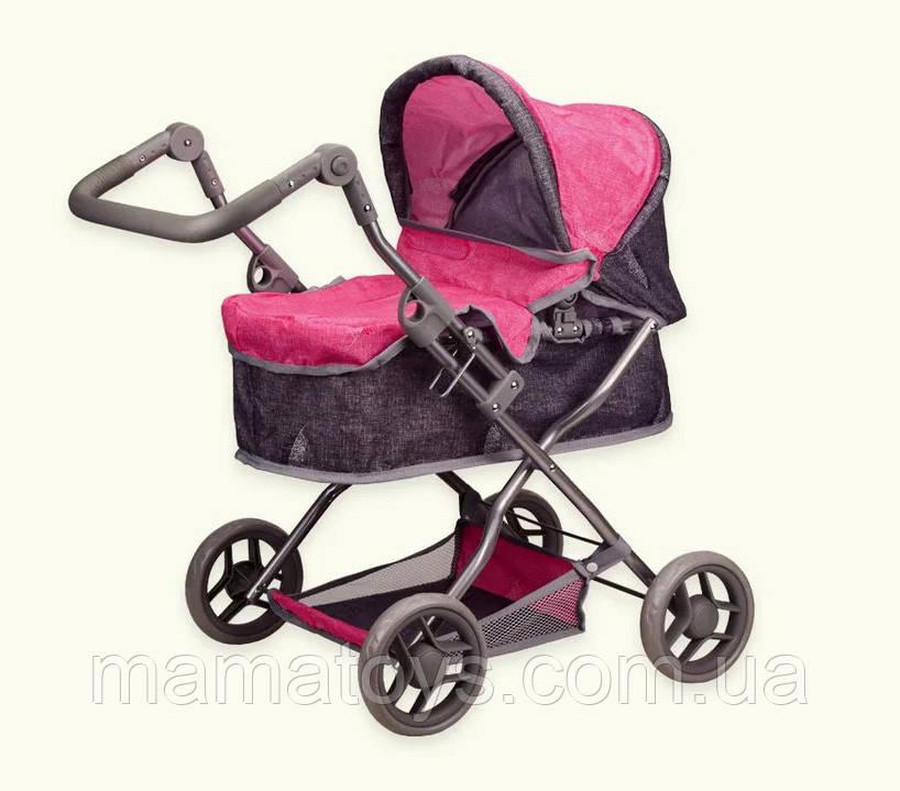 Лялькова коляска 9680 - Pink 68 см Люлька, Регульована ручка, Складаний капюшон, корзина