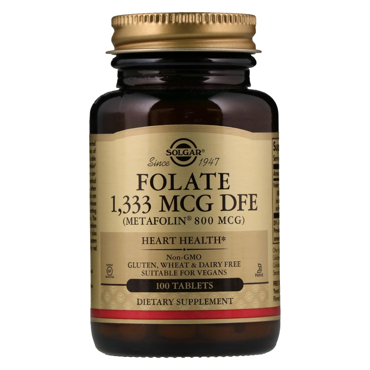 Фолиевая кислота В9 метафолин Solgar Metafolin 800 мкг 100 таблеток (SOL01945)