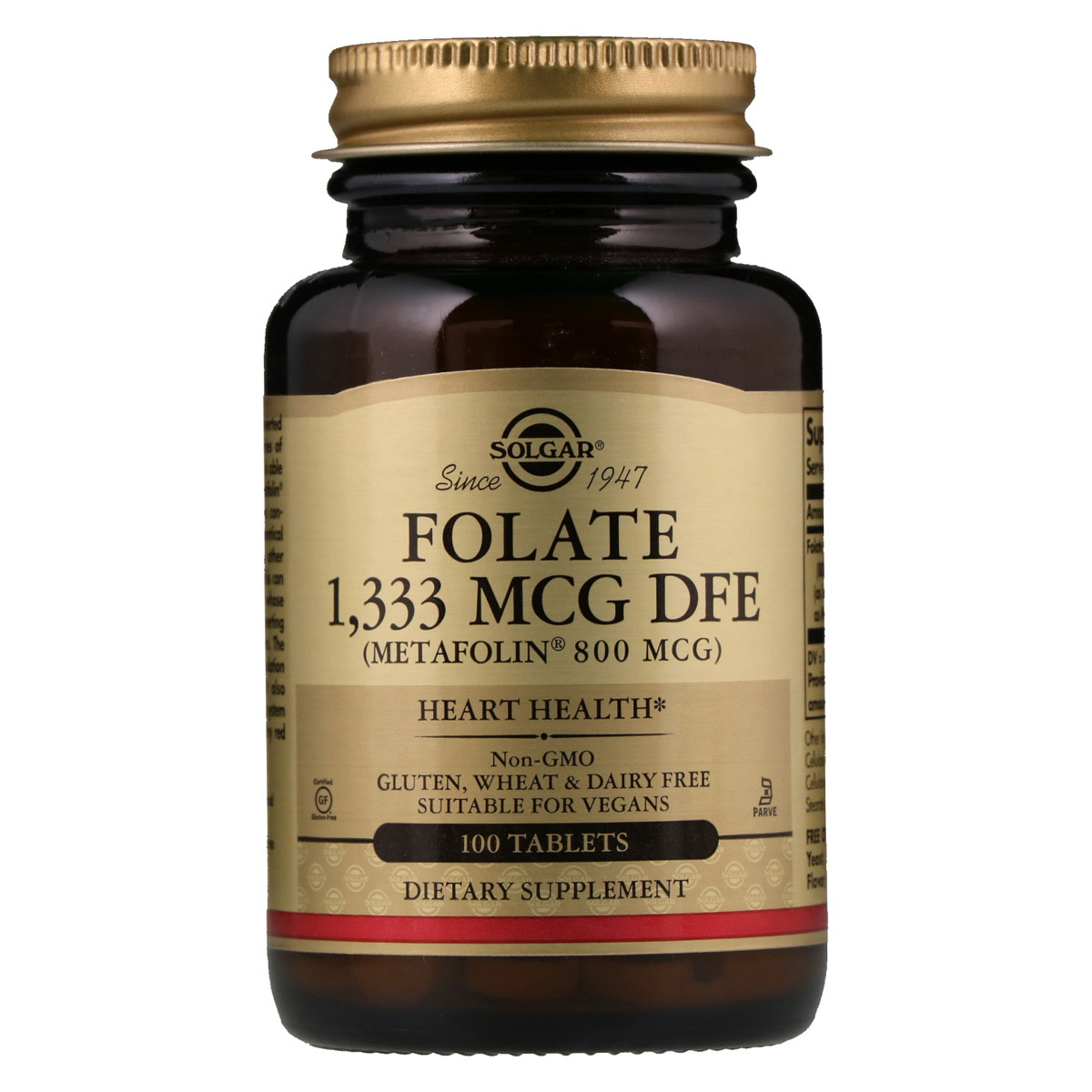 Фолієва кислота В9 метафолин Solgar Metafolin 800 мкг 100 таблеток (SOL01945)