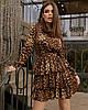 Женское леопардовое платье с воланами