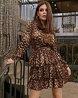 Женское леопардовое платье с воланами, фото 1