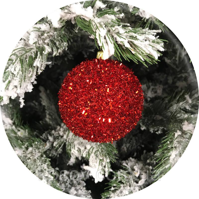 Новогодний елочный шар «Ёжик» (красный, 100мм)