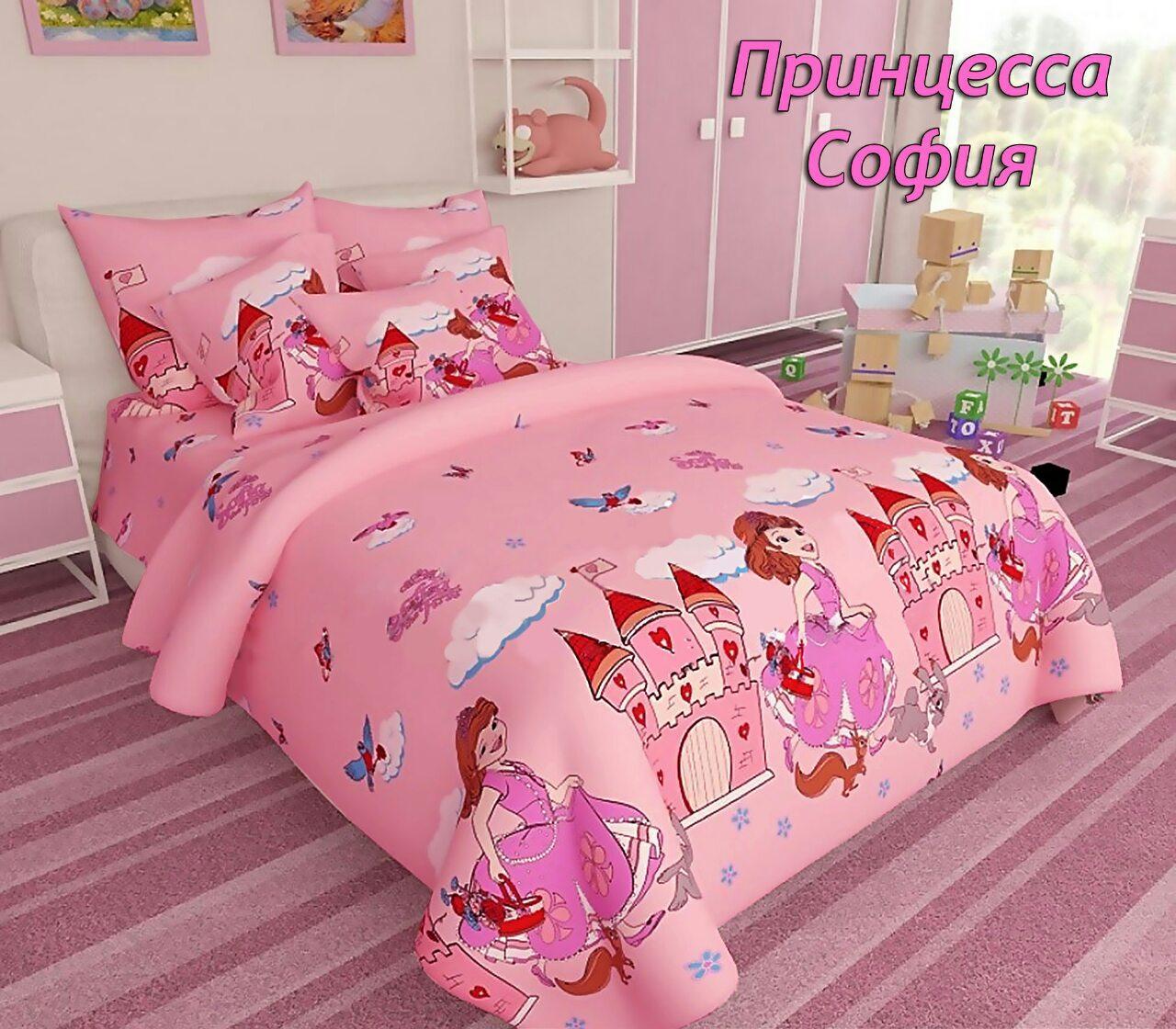 Комплект детского постельного полуторного белья Принцесса София, Бязь Люкс, Тиротекс, розовый