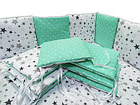 Комплект бортиков в кроватку (комплект - 12 подушек). Бортики в детскую кроватку, люльку.