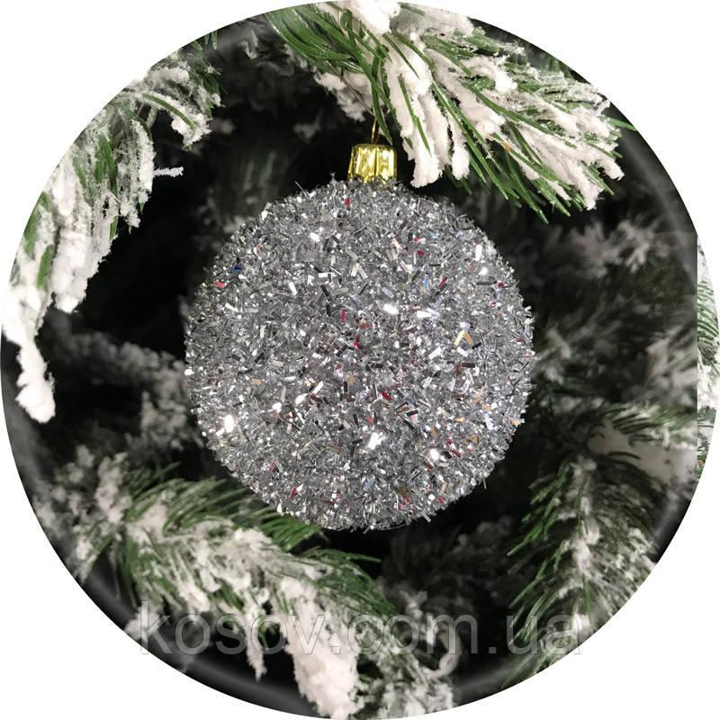 Новогодний елочный шар «Ёжик» (серебро, 100мм)