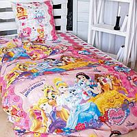 Комплект детского постельного полуторного белья Принцессы, Бязь Люкс, Тиротекс, розовый